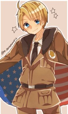 Hetalia (ヘタリア) - America/The United States (アメリカ) ((if you like this type of art I have more by this person on my board >w<))