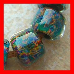 5FISH ~ Handmade Lampwork Borosilicate Glass Set Boro Beads ~ Polished Stone | eBay