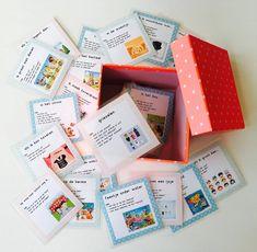 Opstelkaartjes die creatief schrijven stimuleren. De kaartjes zijn voorzien van een titel en enkele vragen om de kinderen te helpen bij de start van het schrijfproces