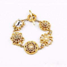 NEW Vintage Style Crystal Flower Charm Bracelet Bangle Toggle Gold Tone Chain US #ChainCharm