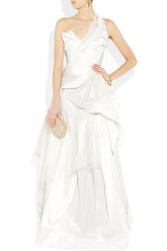 A formal white dress that doesn't look like a wedding dress. VIVIENNE WESTWOOD GOLD LABEL Bronze silk-taffeta and tulle dress
