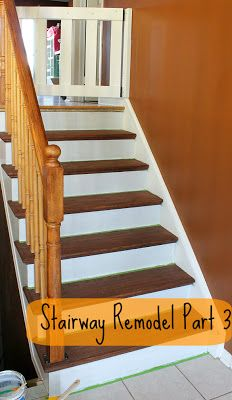 Stairway Remodel Part 3: Installing stair treads and risers.  Makeover from stairs that had pressboard and plywood under the carpet instead of hardwood.