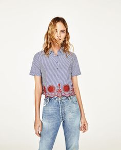 ZARA - DONNA - CAMICIA CROPPED A RIGHE