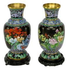Pair Colorful Floral Cloisonne Vases On Carved Bases #1stdibs