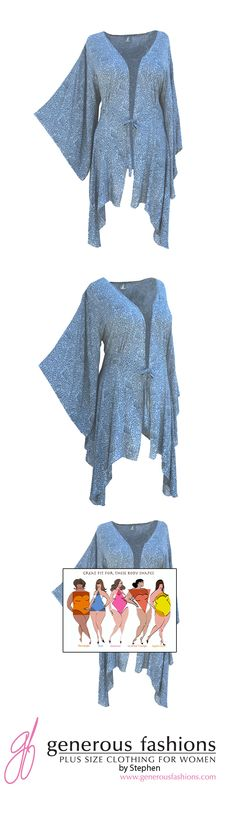 Plus Size Kimono Style Jacket by Stephen on Etsy.  Handmade. ENTER: PIN15 for 15% off your 1st order when you shop my ETSY Store.  https://www.etsy.com/shop/GenerousFashions