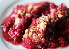 Salmonberry Crunch Recipe Salmonberries look like large raspberries and have a sweet tart flavor that is habit forming, delicious in this dessert.