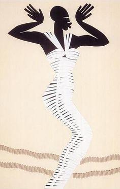 Fashion illustration by Michael Roberts, March 1990, Azzedine AlaÏa 'Sphinx dress', The Sunday Times.