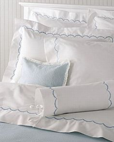 Matouk Scallop King Fitted Sheet, Blue