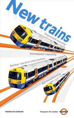 Design features three drawings of the new Overground trains. Publicity poster adverstising the new trains to be commisioned on the new London Overground line between Dalston and west Croydon, previously known as the East London Line. Mayor Of London, New London, East London, Transport Info, Public Transport, Kids Go Free, London Overground, Weekend In London, London Transport Museum