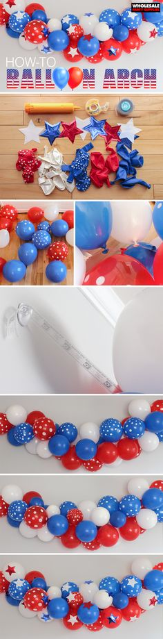 This how-to guide will give you an easy to make #balloon arch that's perfect for any occasion! Use it for Memorial Day or the Fourth of July, or swap out for different colors and make it your own!