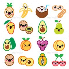 Buy Kawaii Fruit and Nuts Character Icons Set by RedKoala on GraphicRiver. Vector icons set of Japanese Kawaii fruit isolated on white FEATURES: Vector Shapes All groups have names All e. Fruits Kawaii, Griffonnages Kawaii, Arte Do Kawaii, Cute Food Drawings, Cute Kawaii Drawings, Cute Animal Drawings, Easy Drawings, Doodles Kawaii, Cute Doodles