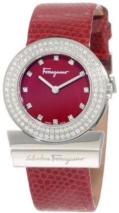Salvatore Ferragamo Women's  S006 Gancino Burgundy Genuine Lizard Leather Diamond Watch