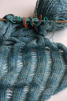 Clapotis scarf - knit on the bias  http://www.knitty.com/ISSUEfall04/PATTclapotis.html