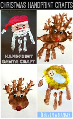 Cute and Easy Christmas Handprint Crafts For Kids! Santa Claus, Rudolph the red-nosed reindeer, baby jesus in a manger, and more art projects! | http://www.sassydealz.com/2013/12/cute-christmas-handprint-crafts-for-kids.html