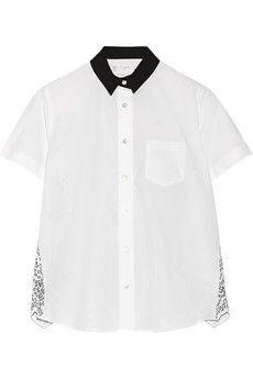 Sacai Broderie anglaise cotton-poplin shirt   NET-A-PORTER