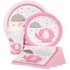 Pink elephant baby shower theme