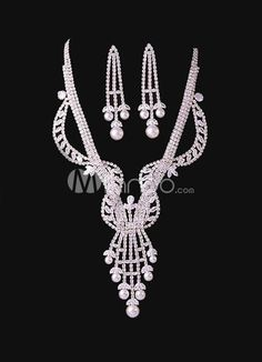 Grace Fringe Pearl White Bridal Jewelry Set. Earrings Size 7*2.5 cmPendant Size 8.5*4.2 cmChain Length 38-43 cm. See More Wedding Jewelry Sets at http://www.ourgreatshop.com/Wedding-Jewelry-Sets-C924.aspx