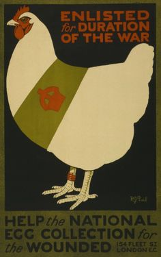 World War I British propaganda poster featuring a hen (and presumably her eggs)
