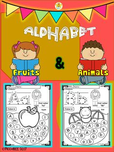 FREE Alphabet Worksheets - Fruits and Animals Teacher Created Resources, Writing Resources, Writing Activities, Learning Letters, Kids Learning, Letter Find, Alphabet Pictures, Uppercase And Lowercase Letters, Alphabet Letters