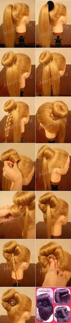 Elegant Bun Decorated with a Cute Bow - DIY (2)