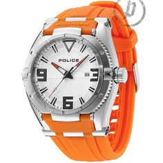 Police - Mens Orange Rubber Strap White Dial Raptor Watch 13093JS-04A  Online price: £140.00  www.lingraywatches.co.uk