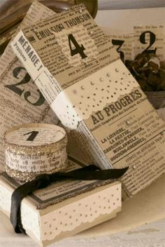 Vintage Dutch Newspapers, Paper Lace, Chunky Silver German Glass Glitter and Black Numbers. Jeanne d'Arc Living - JDL Magazine