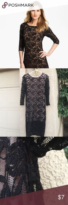 Rose Lace Dress So pretty! Pictures do not do it justice. Lace is stretchy and has a nude lining. The lining is on the main bodice and goes almost all the way down. Sleeves are not lined. The flaws are the tiny hair threads. one clothing Dresses Long Sleeve
