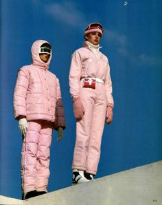 evening dress code for avant garde fashion lovers at summer festivals at night , or is that just me LOVE ski suit #1970s I think I had that!