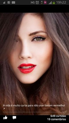 Red lipstick and eyeliner