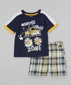 Little Rebels Navy Monster Truck Zone Tee & Plaid Shorts - Toddler   zulily