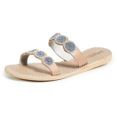 Laidback London Kaitlyn Double Strap Sandals (1 160 ZAR) ❤ liked on Polyvore featuring shoes, sandals, flat leather sandals, leather strap sandals, double strap slide sandals, slide sandals and double strap flat sandals