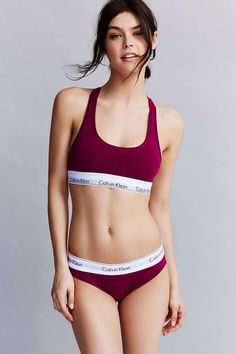 Berry good. Discover the classically cool Modern Cotton bralette + bikini in this @urbanoutfitters-exclusive color. #mycalvins #UOonYou