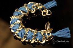 CRUZ collection bracelet, gold color chain, blue cotton spun