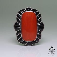 Antique Art Deco Platinum Coral - Diamond & Onyx Ring