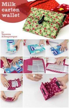 How to make a milk carton - Diy Wallet Diy Wallet, Wallet Tutorial, Fabric Wallet, Crafts To Sell, Diy And Crafts, Paper Crafts, Diy Paper, Sewing Patterns Free, Free Sewing