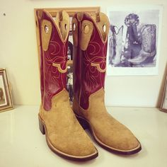 """Cowboy Boot with 14"""" burgundy uppers with saddle rough out vamps. #beckcowboyboots #beckboots #customboots #boots #cowboyboots #handmadecowboyboots #madeintexas"""