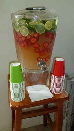 strawberries or cherries with lime - limeade