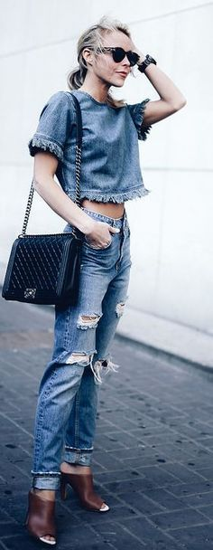Denim On Denim Outfit Idea by Happily Grey