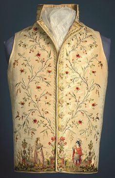 Inspired by Opera. A French embroidered waistcoat dated between 1785 and 1795 showing Dido and Aeneas in scenes from Didon. Smithsonian Cooper-Hewitt, National Design Museum in New York. 18th Century Dress, 18th Century Costume, 18th Century Clothing, 18th Century Fashion, 19th Century, Historical Costume, Historical Clothing, Men's Waistcoat, Vintage Outfits