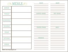 Printable Meal Planning Template  Meal Planning Printable Meals