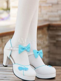 677b37f3846 White Qi Lolita Chunky Heels Shoes Red Blue Pink Black Chinese Style  Buttons Bows  Heels