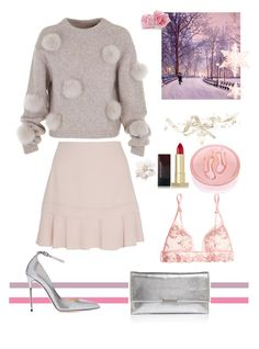 """Cozy, and beautiful Winter look"" by mgldemartino ❤ liked on Polyvore featuring TIBI, See by Chloé, Daum, Kevyn Aucoin, La Perla, Jimmy Choo, Loeffler Randall, Chanel, ArianaGrande and fashionWeek"