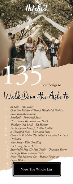 135 of the Best Bride Entrance Songs For Every Kind of Bride That emotional moment you walk down the aisle to meet your partner deserves an epic soundtrack! We've got 135 bride entrance songs to inspire you Wedding Aisle Songs, Perfect Wedding Songs, Wedding Song List, Cute Wedding Ideas, Wedding Music, Wedding Playlist Music, Songs For Wedding Ceremony, Wedding Reception Playlist, Soundtrack