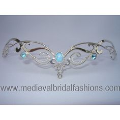 Blue Fire Circlet, Bridal Tiara, Silver Headpiece, Celtic Wedding... (€240) ❤ liked on Polyvore featuring jewelry, tiaras, accessories, crowns and hair accessories