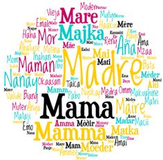"""Multi-Cultural International Languages Poster, """"Mother"""", for Mother's Day.  Mother in any language means love! ♥"""