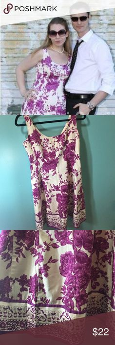 "Nine West floral dress Nine West fuschia/purple floral on white dress. Bodice pleating for fitted look. Back zip. 36""b30w36""l Nine West Dresses Midi"