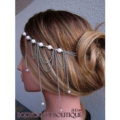 Bridal Hair Chain pearl | Head chain hair piece with pink pearl accent. Wedding, bridal, prom ...