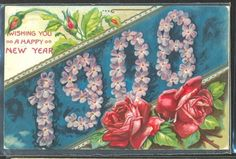 GY126-Annee-MILLESIME-1908-ROSES-VIOLETTES-DORURES-FANTAISIE-Gaufree-RELIEF