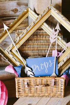 Photo Prop Basket | Gemma & Tom's DIY Barn Wedding | Natasha Hurley Photography | Bridal Musings Wedding Blog