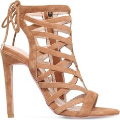 CARVELA Gracie suede heeled sandals ($175) ❤ liked on Polyvore featuring shoes, sandals, tan, heels stilettos, open toe sandals, suede sandals, suede shoes and open toe stilettos
